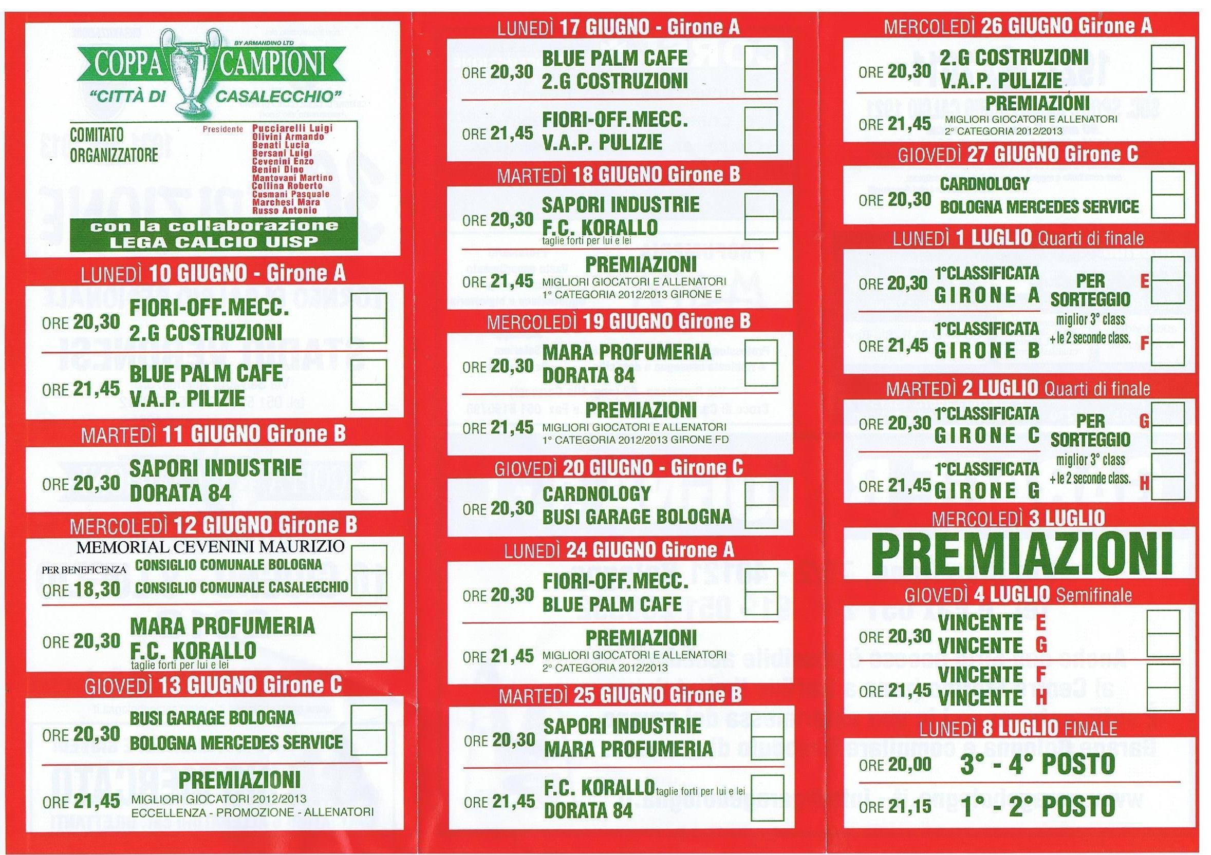 Calendario Coppa Dei Campioni.Coppa Dei Campioni Di Calcio Al Veronesi Comune Di