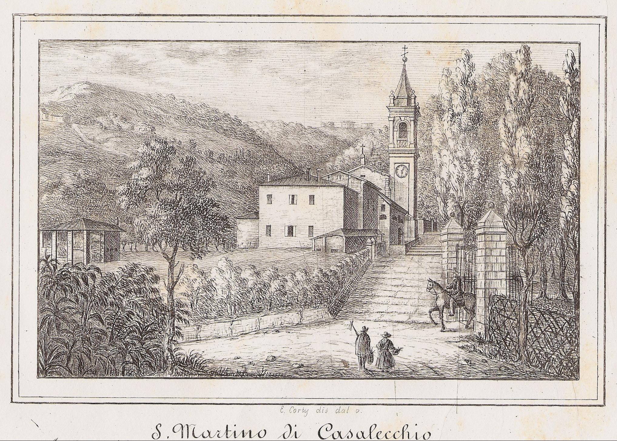 Chiesa di San Martino in una stampa del Corty degli anni '40 del XIX secolo