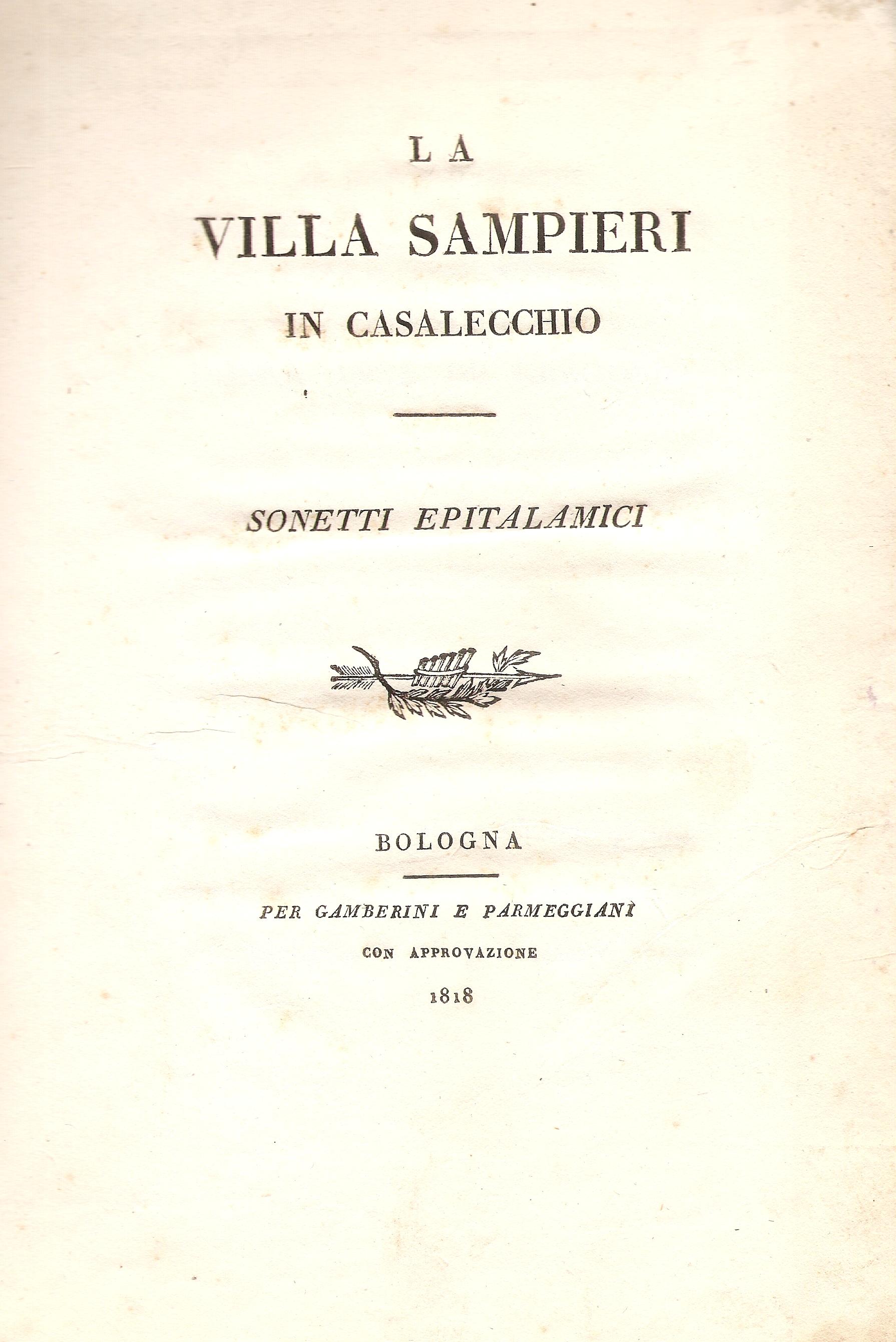 """Frontespizio dei """"Sonetti epitalamici"""" (Archivio Biblioteca C. Pavese)"""