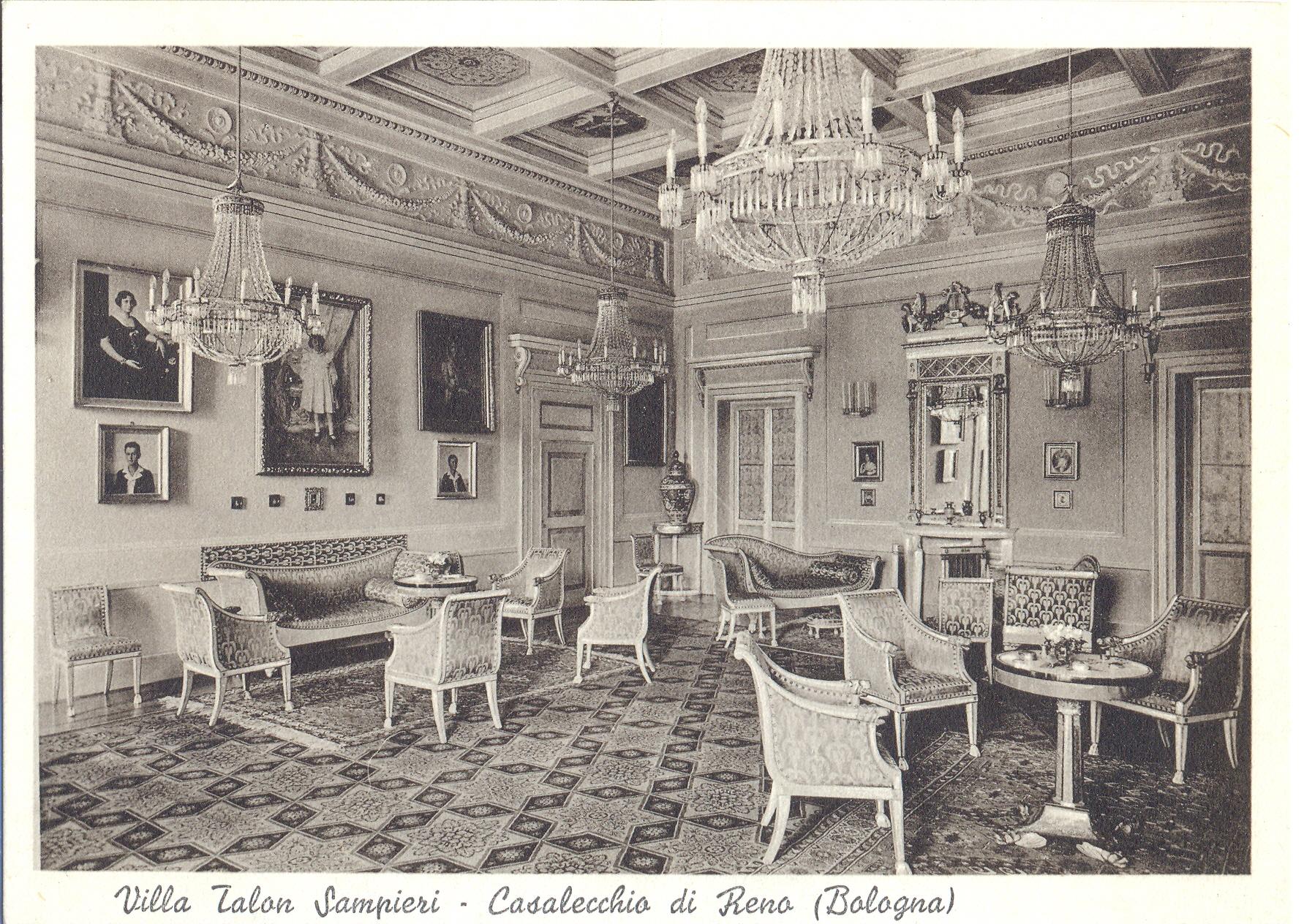 La villa Sampieri Talon, una sala (Archivio fotografico Biblioteca C. Pavese)