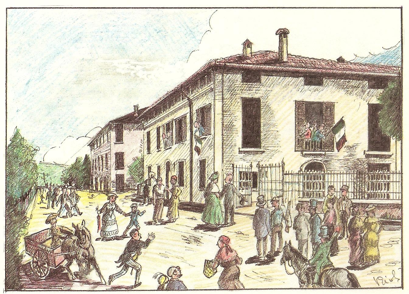 """I casalecchiesi innalzano il Tricolore sull'edificio comunale (cartolina illustrata dall'autore ed allegata a """"Saluti da Casalecchio"""")"""
