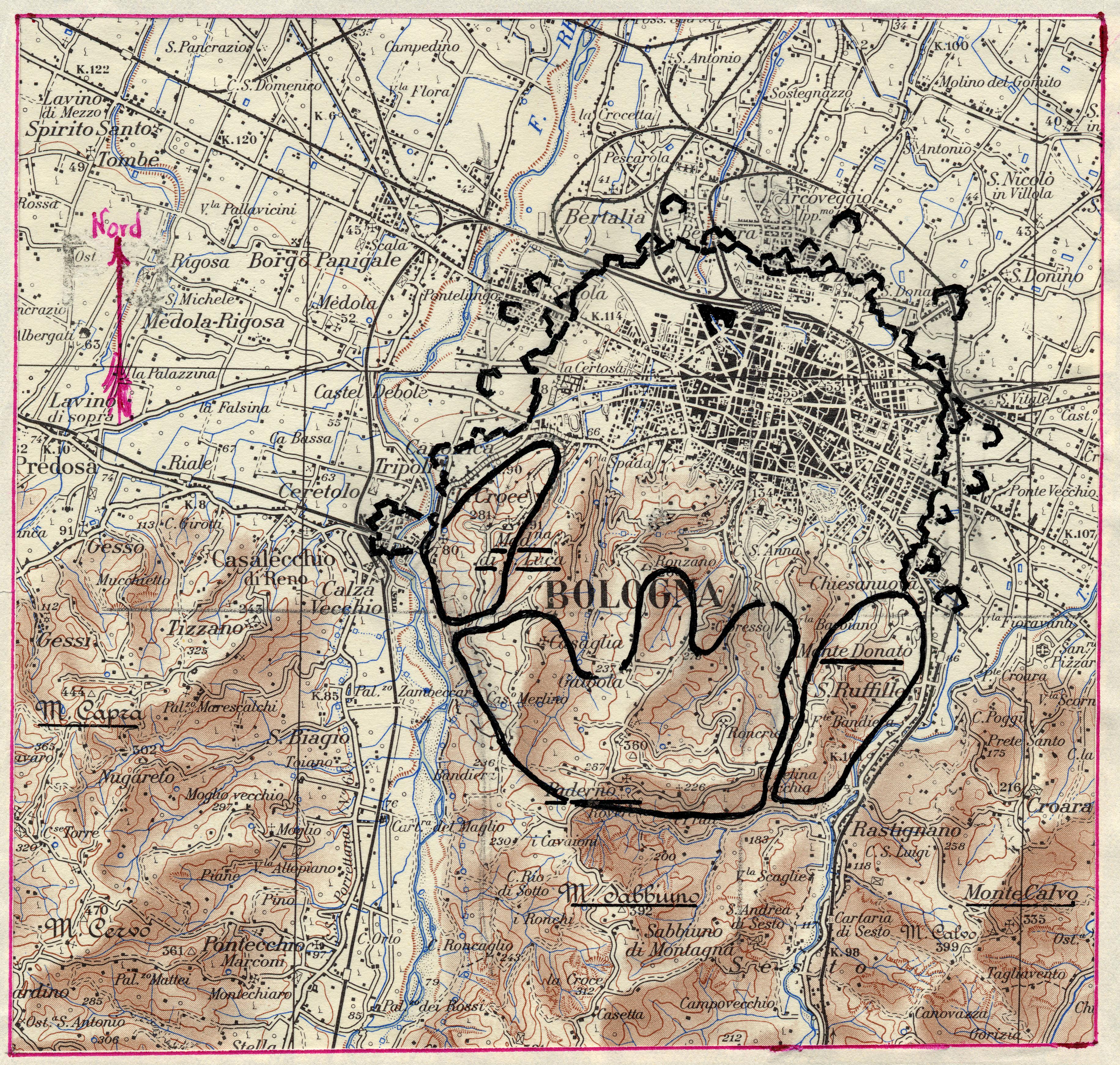 Il perimetro del Campo Trincerato a protezione di Bologna (in Fortificazioni militari : storia del campo trincerato a Bologna : 1860-1876)