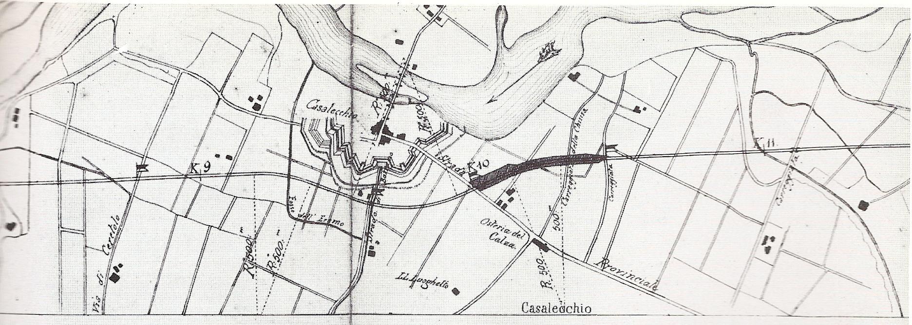 Il tratto casalecchiese della ferrovia Bologna-Porretta, si notano i punti topografici principali e le fortificazioni del Campo Trincerato (Biblioteca dell'Archiginnasio, Protche, 11)