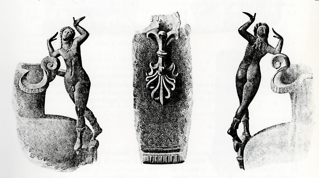 """Tomba del guerriero gallico: l'Oinochoe (brocca) con satiro danzante (da """"Casalecchio di Reno. Percorsi ed immagini della sua civiltà"""")"""