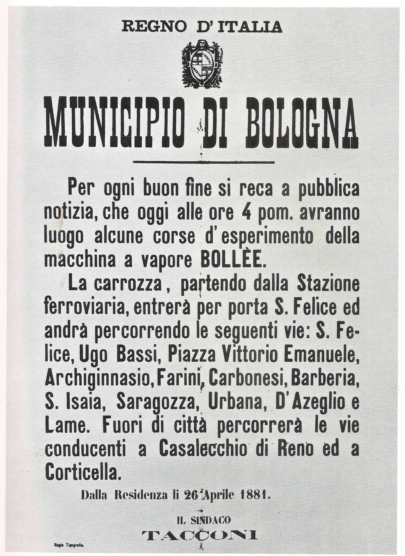 """Avviso del Municipio di Bologna per le corse sperimentali della macchina a vapore Bollée (da """"Quelli del tramway"""")"""