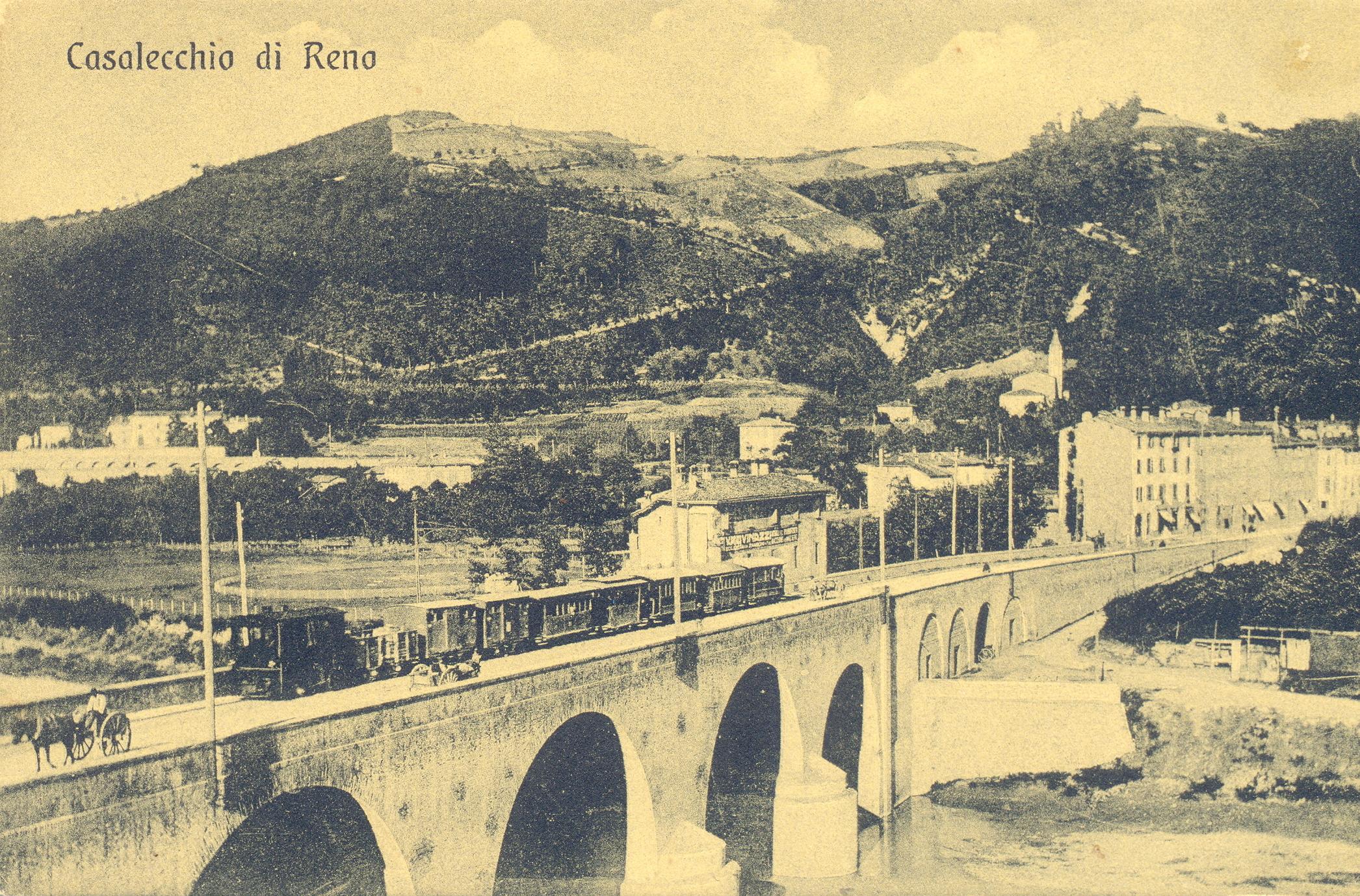 Il vaporino sul ponte a Casalecchio (Archivio fotografico Biblioteca C. Pavese)