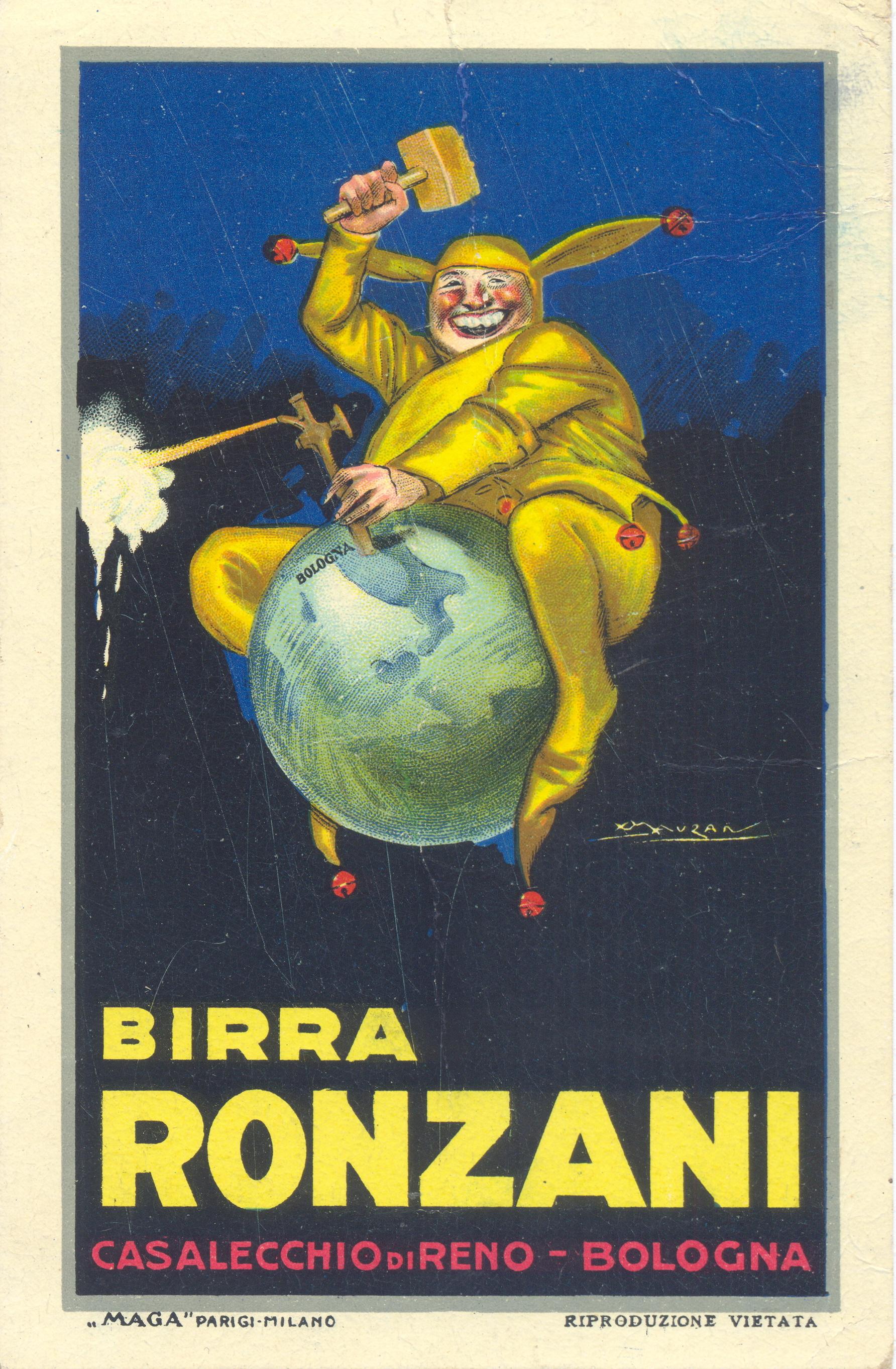 Cartolina pubblicitaria degli anni '20 della Birra Ronzani illustrata da L.A.Mauzan (Collezione M. Neri)