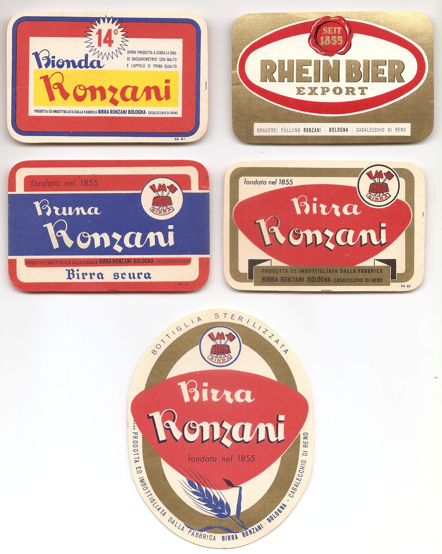 Etichette per le bottiglie della Birra Ronzani (Collezione M. Neri)