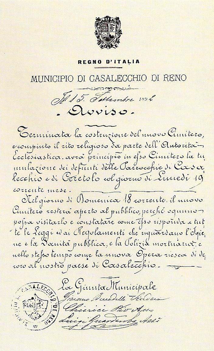 Avviso del Municipio datato 15 settembre 1892 (A.S.C. Casalecchio di Reno)