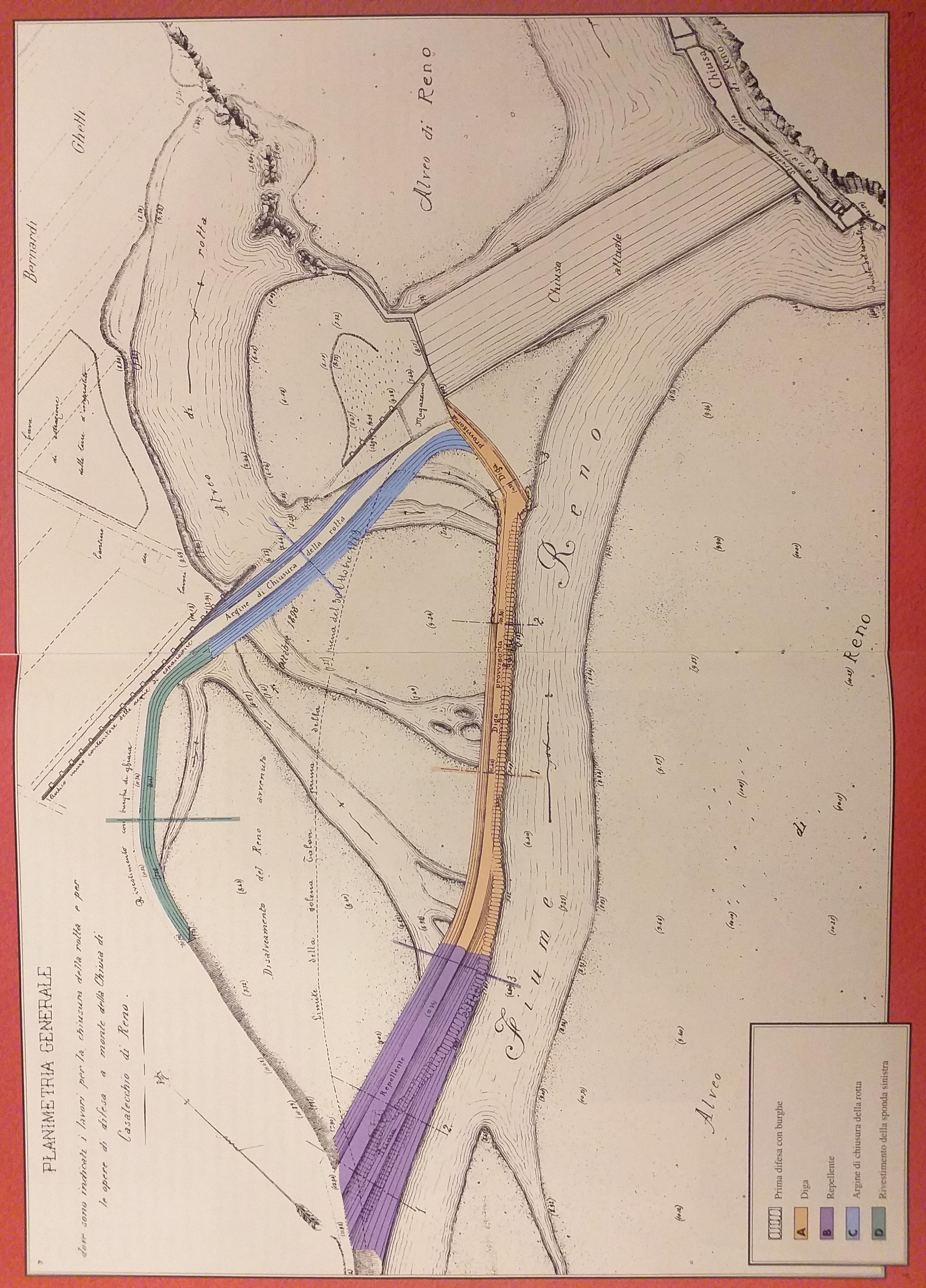 """Planimetria generale della rotta con indicati i lavori di chiusura e di difesa (in """"Quando l'uomo lavorò l'acqua…"""")"""