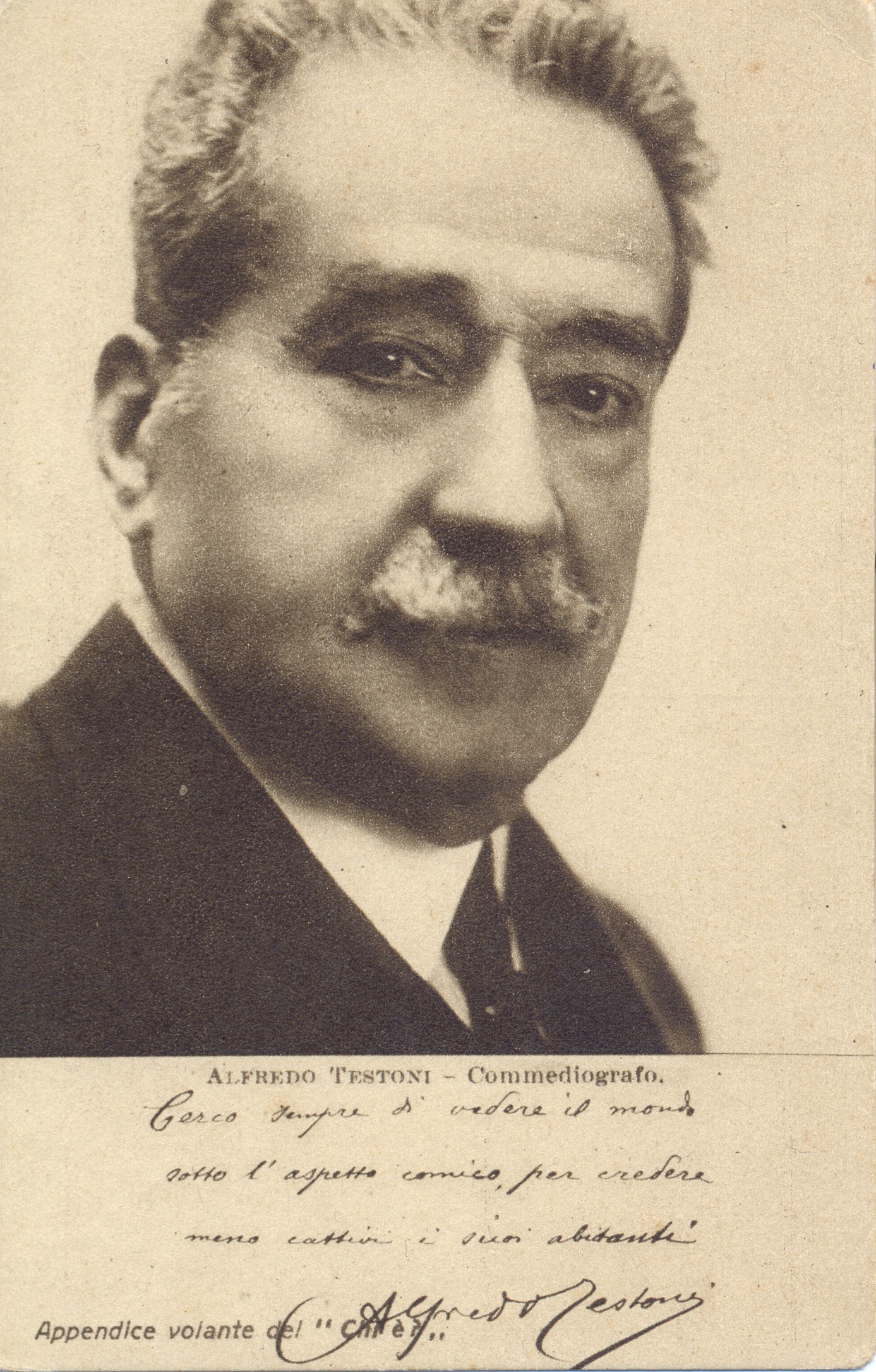 Cartolina parlante con aforisma prestampato di Alfredo Testoni