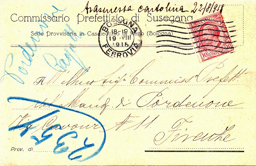 Cartolina postale intestata Commissario Prefettizio di Susegana