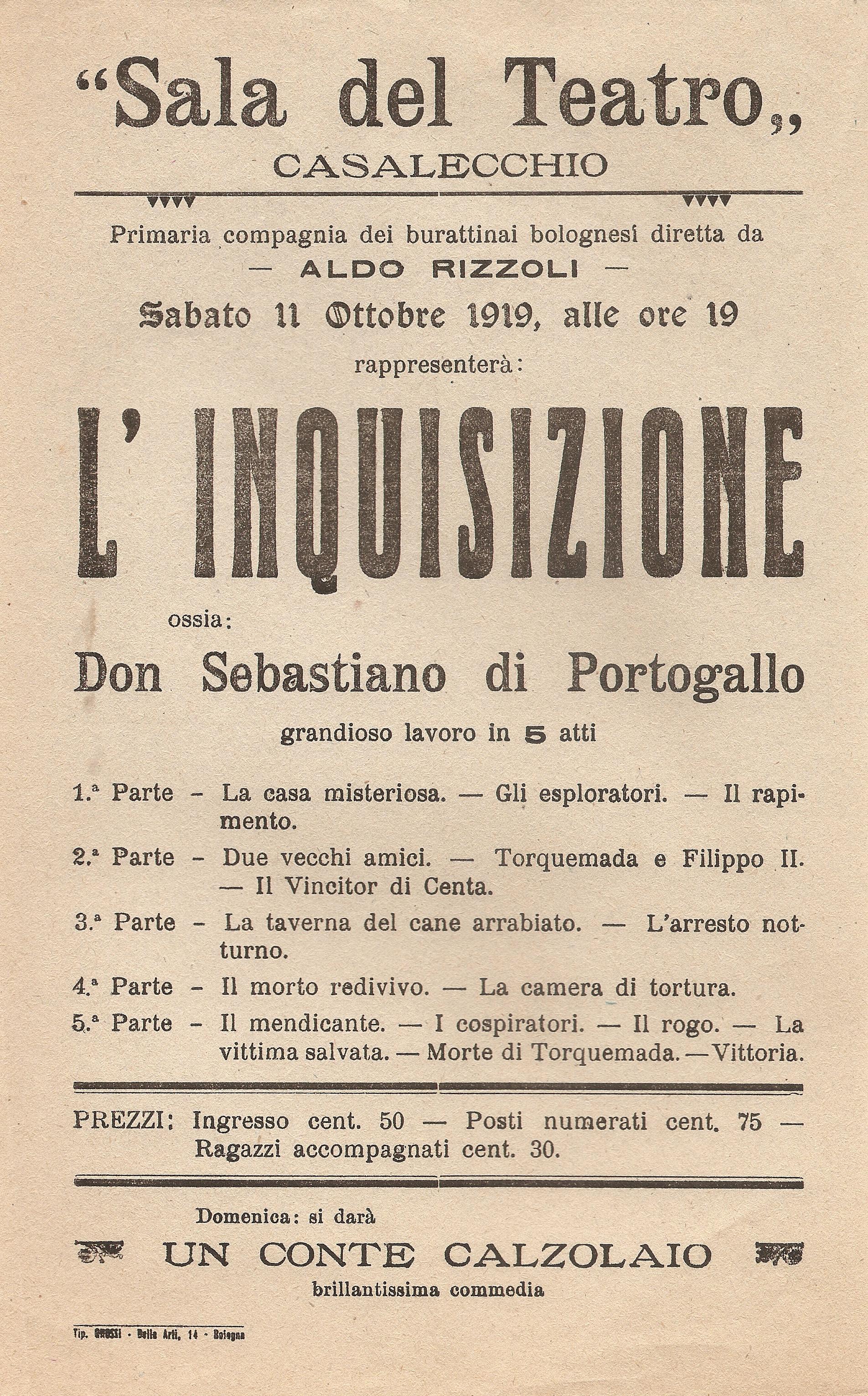 """Locandina dello spettacolo di burattini """"L'inquisizione ossia Don Ferdinando di Portogallo"""""""