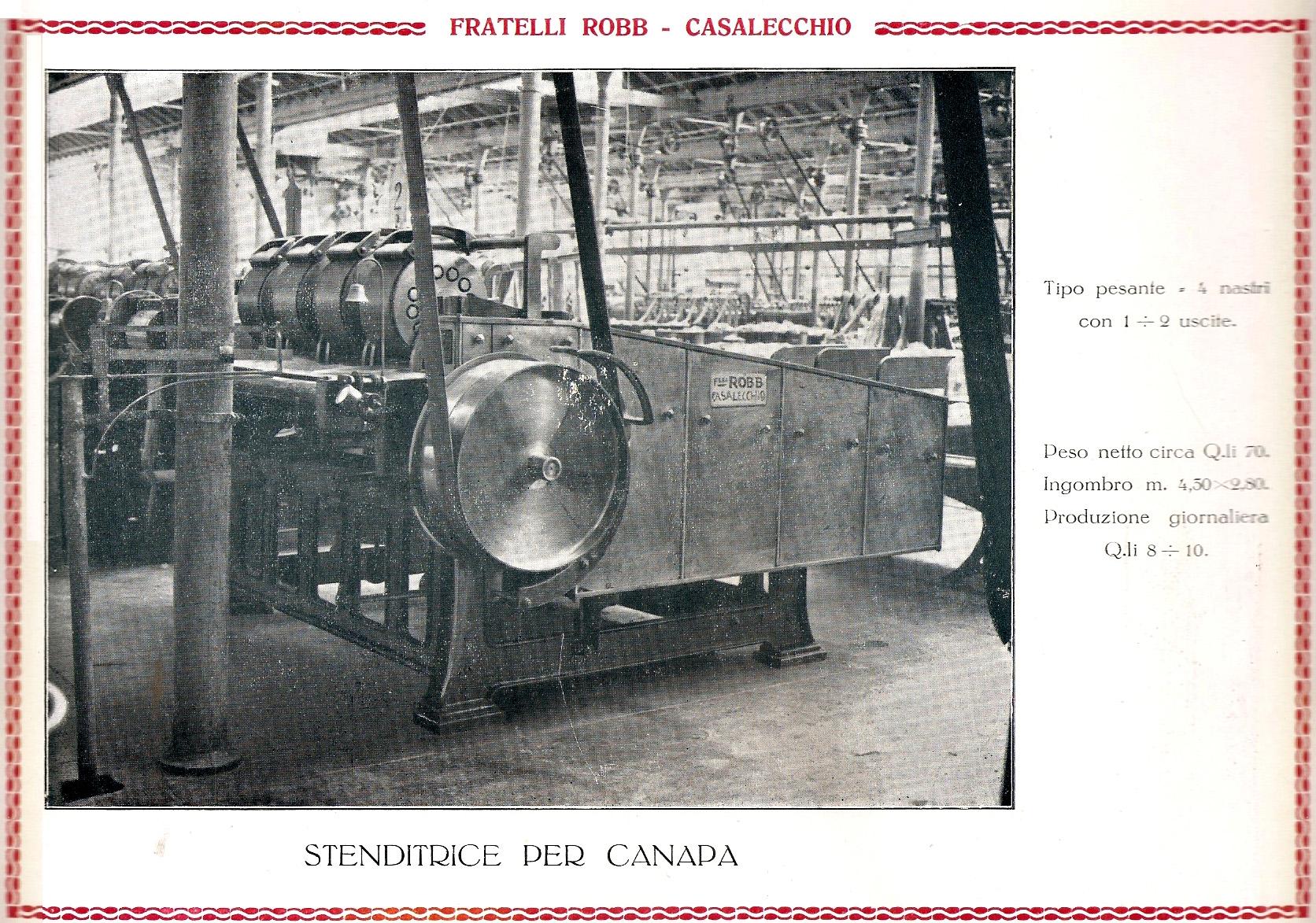 Macchina per la lavorazione della canapa, da elegante catalogo della fabbrica Robb  degli anni '20