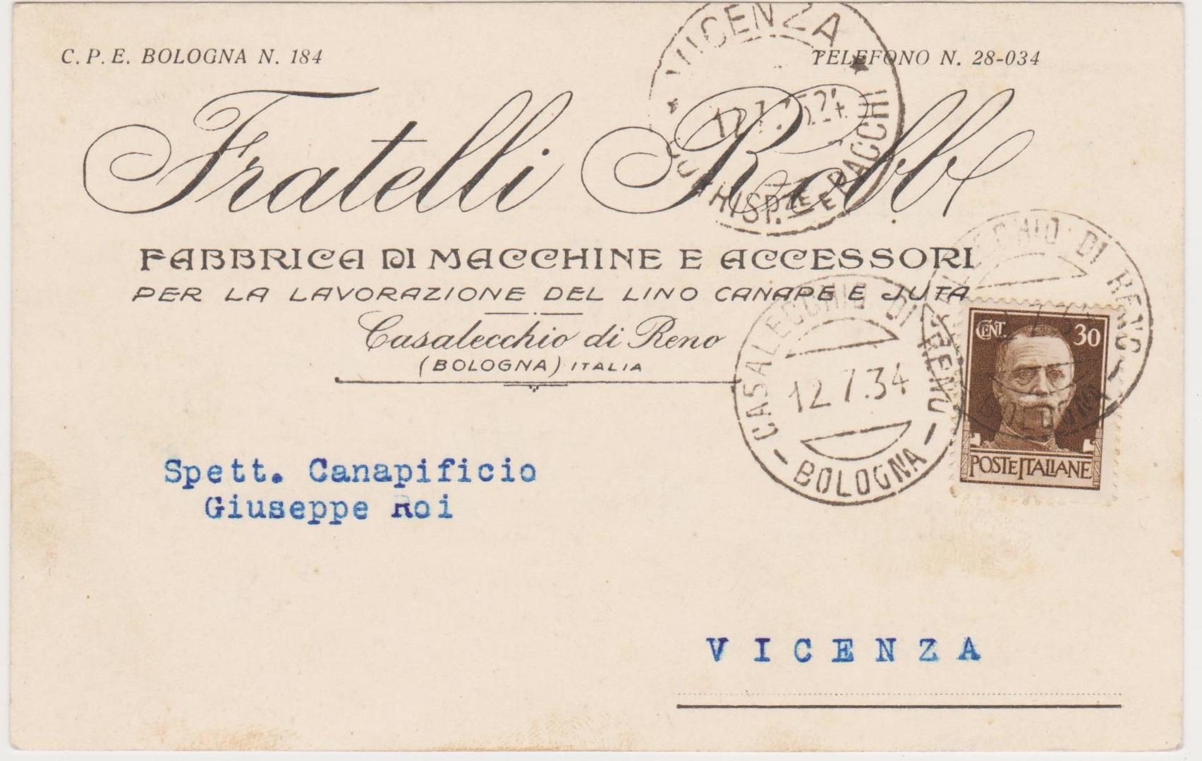 Cartolina commerciale della fabbrica Robb