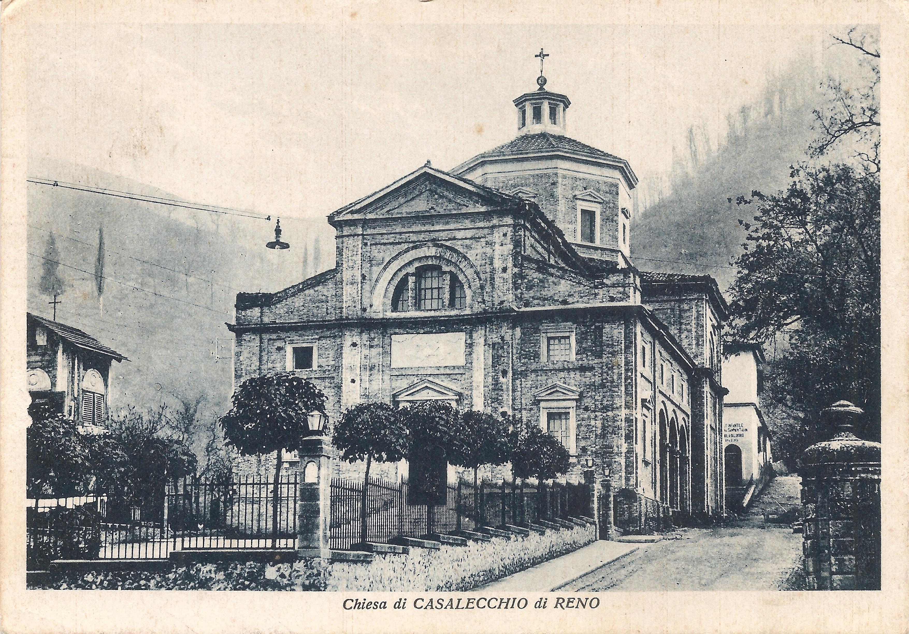 Chiesa di San Martino con sulla destra, lungo via dei Bregoli, l'Asilo e la Scuola di Lavoro