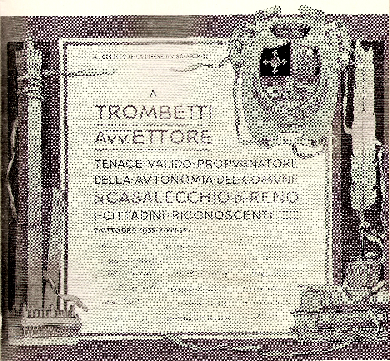 La pergamena, dipinta da Nasica, omaggio dei casalecchiesi all'Avv.to Ettore Trombetti