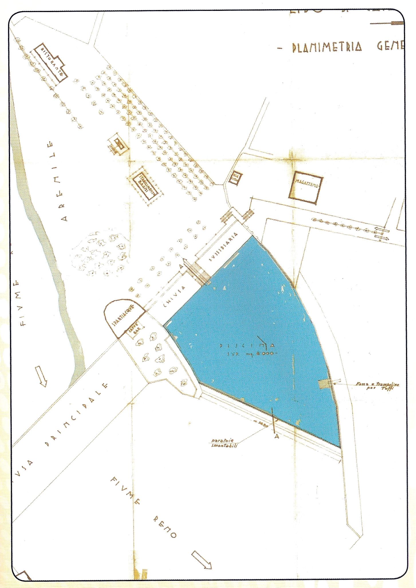Planimetria di progetto della piscina al Lido di Casalecchio